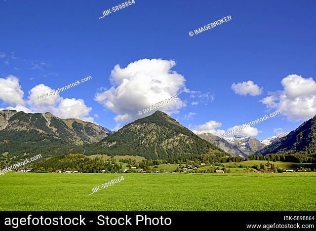 Panoramic view from the Loretto Meadows to the mountains near Oberstdorf, Gaisalphorn 1953m, Nebelhorn 2224m and Schattenberg 1721m, Allgäu Alps, Allgäu