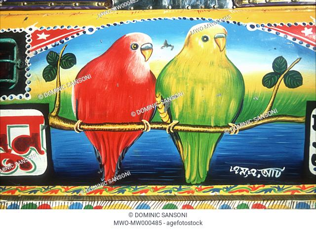A painting, to be used in the back of a rickshaw Usually rickshaw is painted with scenes from popular Bangla movie or rural scenery Bangladesh