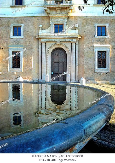 Water reflection. Entrance Villa dei Medici. Rome, Italy