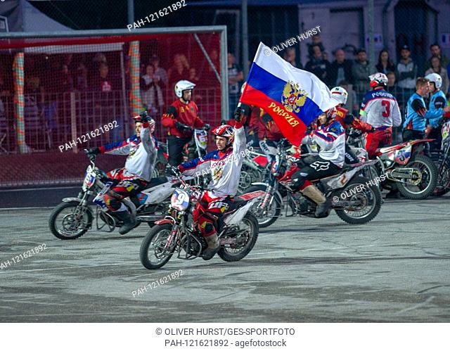 Russia wins the European Championship and cheers, Ivan Krischtopa (RUS) with flag. GES / Motoball / European Championship, Final: Germany - Russia, 22