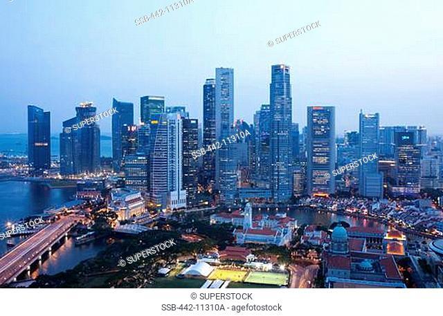 High angle view of a cityscape, Singapore City, Singapore