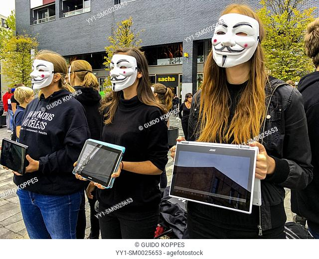 Tilburg, Netherlands. Anonimous Animal Rights Protesters demonstrating against animal abuse inside butcher and slaughter houses
