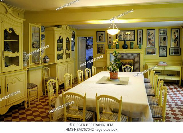 France, Eure, Giverny, Claude Monet 's house, the dining room and his collection of Japanese prints