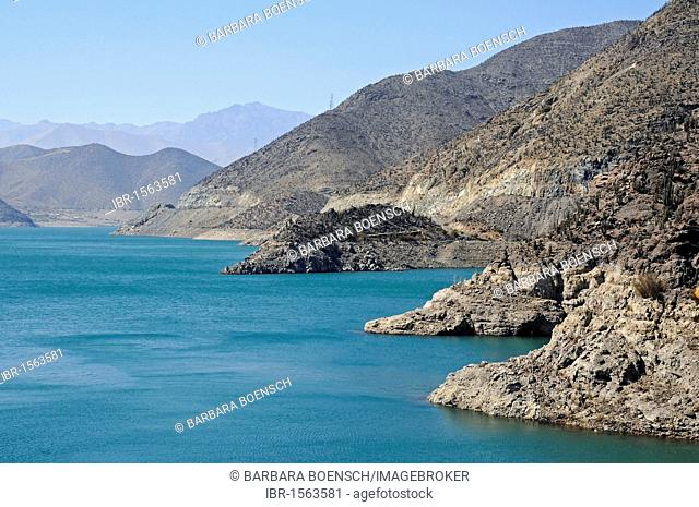 Puclaro reservoir, storage lake, lake, water, mountains, Vicuna, Valle d'Elqui, Elqui valley, La Serena, Norte Chico, northern Chile, Chile, South America