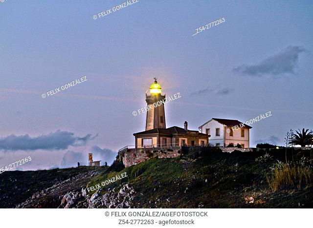 Lighthouse at night Avilés, Asturias, Spain