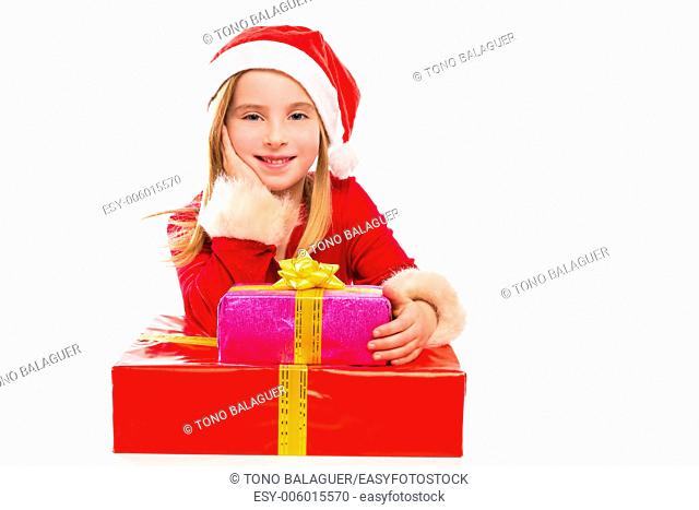 Christmas Santa kid girl happy excited with ribbon gifts isolated on white background