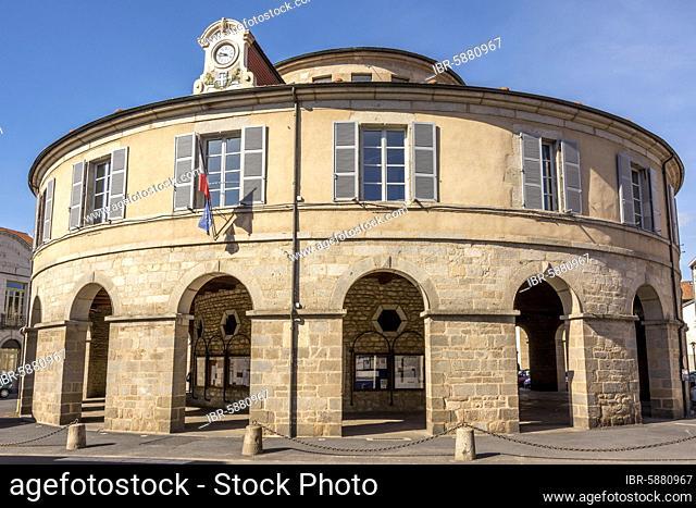 Town hall circular of Ambert, Regional Nature Park of Livradois Forez, Puy de Dome department, Auvergne-rhone-Alpes, France, Europe