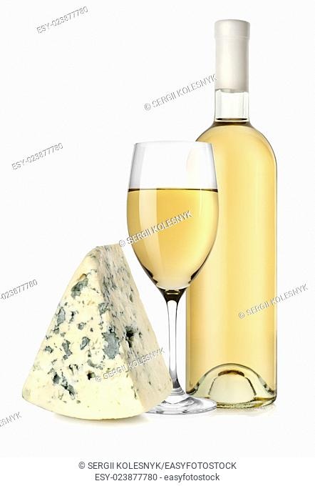 White wine and blue cheese isolated on a white background