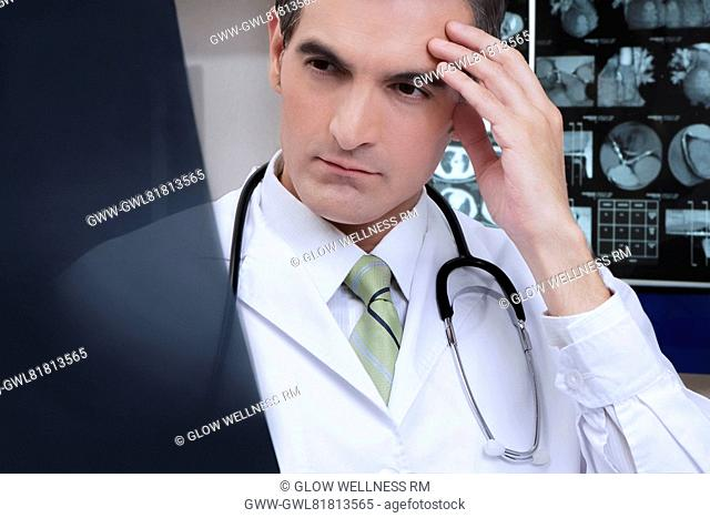 Doctor examining an x-ray report