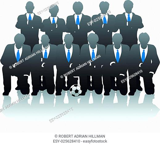 Editable vector illustration of businessmen posing as a soccer team