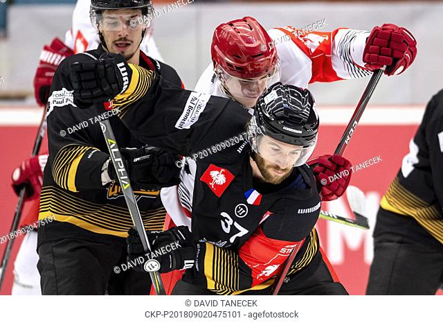 From left hockey players FABIEN COLOTTI of Rouen, LUKAS VOPELKA of Hradec and JORIS BEDIN of Rouen during the Ice hockey Champions League matches group F...