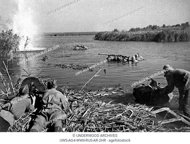 Dneiper River, Russia: 1943.Russian troops fighting on the Dneiper River