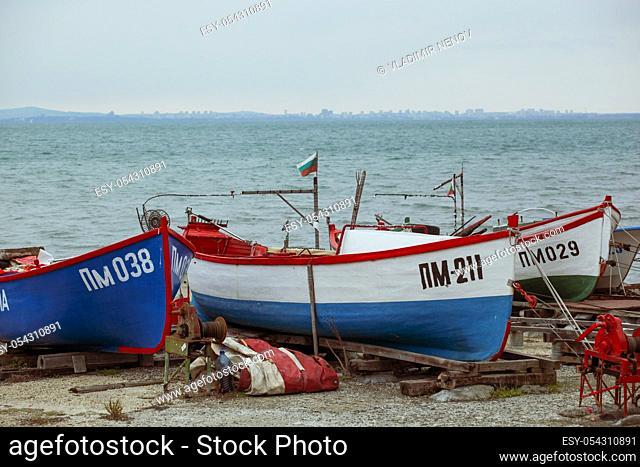 Pomorie, Bulgaria - February 07, 2020: Fishing Boats At The Harbor