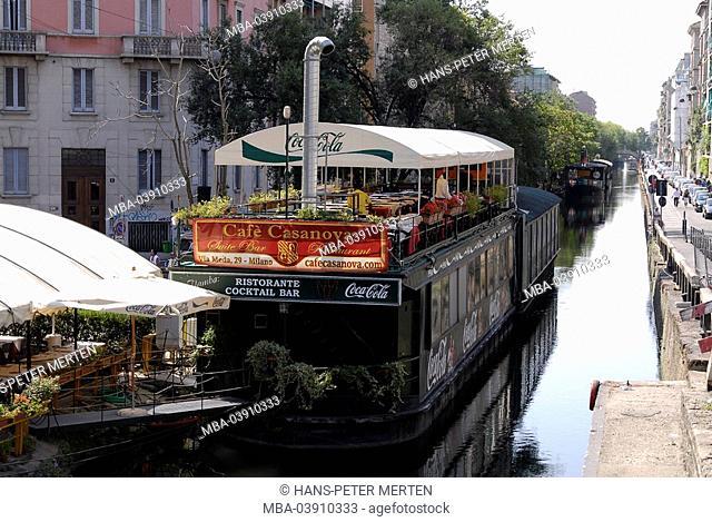 Italy, Milan, Navigli-quarter, restaurant-ship