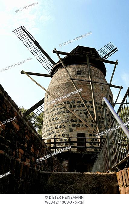 Germany, North Rhine Westphalia, Zons, Windmill, low angle view