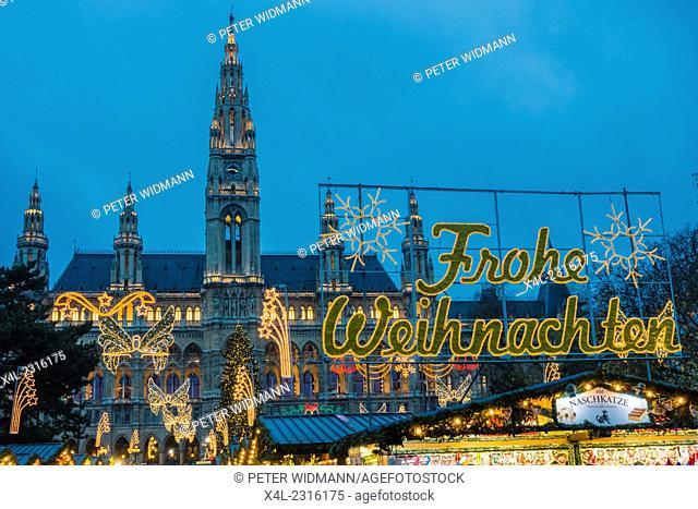 City Hall, Wiener Christkindlmarkt, Frohe Weihnachten, Christmas Market in Vienna, Austria, Vienna