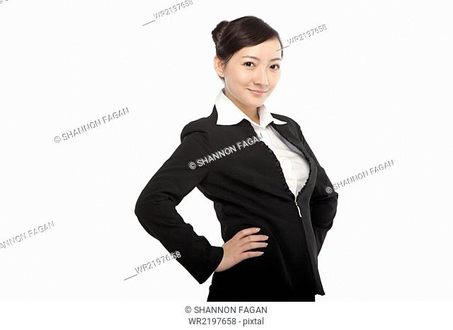 Portrait of a young woman in a business suit