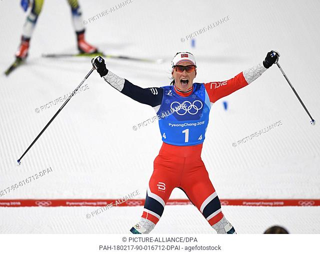 Marit Bjoergen from Norway celebrating at the finish line during the women's 4x5km cross-country relay event in the Alpensia Cross Country Ski Centre in...
