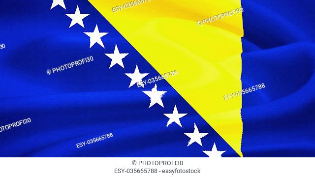 Flag of Bosnia and Herzegovina waving in the wind. Silk texture pattern