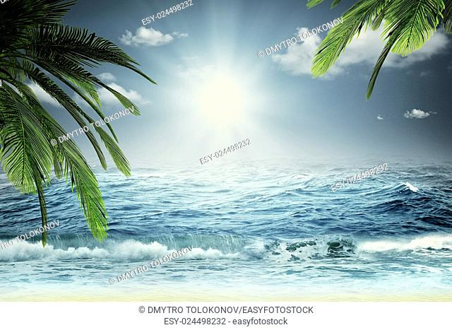 Beautiful sea, summer travel backgrounds with ocean waves, palm tree and sky