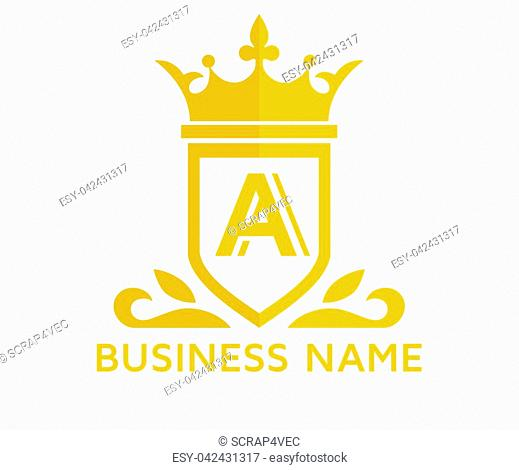gold color beautiful simple luxury classic vintage swirl or floral shield border logo design template with initial name of business company on it type letter a