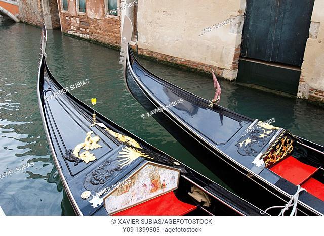 Gondolas, Canal, Venice, Veneto, Italy
