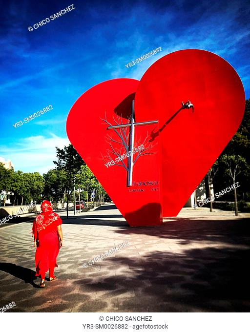 Detail of the red Heart in Steel & Bronze sculpture, Largest Heart of the World, made by F.Crespo to conmemorate the Centenary of the Apparitions of Our Lady of...