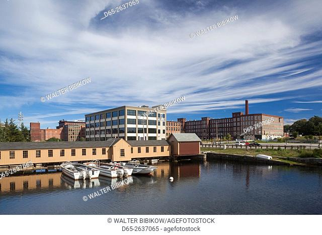 USA, Massachusetts, Lowell, Lowell National Historic Park, view from the Swamp Locks