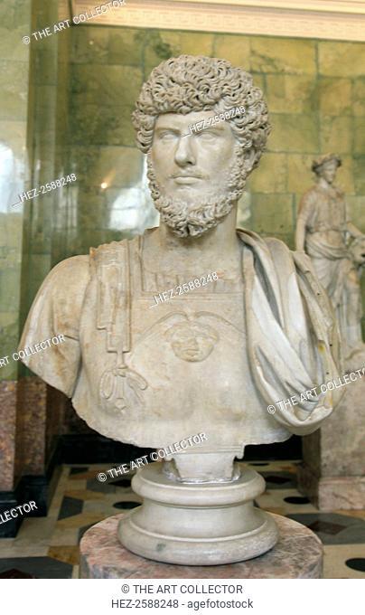 Portrait of Lucius Verus, mid third quarter of 2nd century. Lucius Verus (130-169) was co-emperor of Rome with Marcus Aurelius from 161 until his death