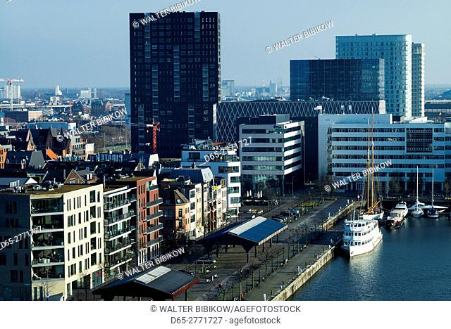 Belgium, Antwerp, elevated view of the newly renovated 't Eilandje docklands
