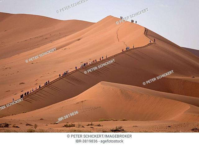 Tourists climbing the Sossusvlei Dunes, Namib-Naukluft National Park, Namibia