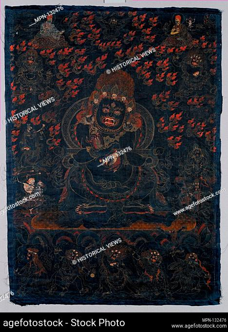 Mahakala, Protector of the Tent. Date: ca. 1650; Culture: Tibet; Medium: Distemper and gold on blue silk; Dimensions: Image: 29 x 20 1/2 in. (73