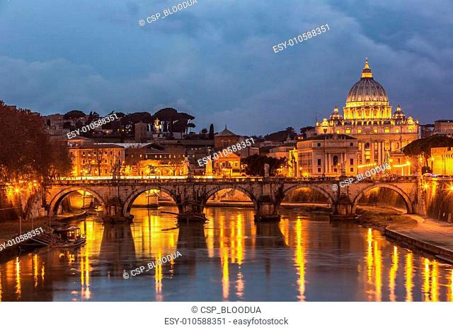 Vatican and river Tiber in Rome - Italy at night