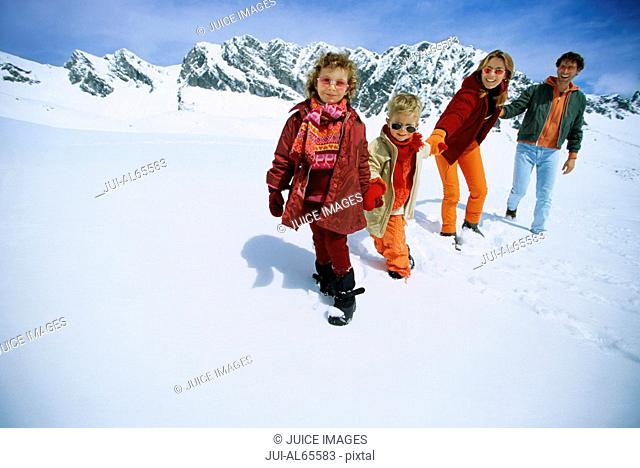 Family outdoors in winter