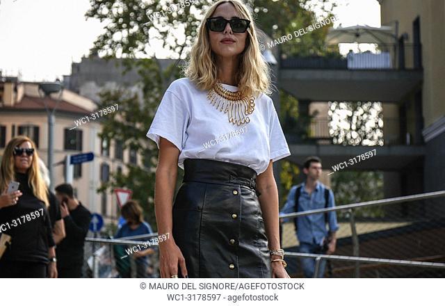MILAN, Italy- September 19 2018: Candela Pelizza on the street during the Milan Fashion Week