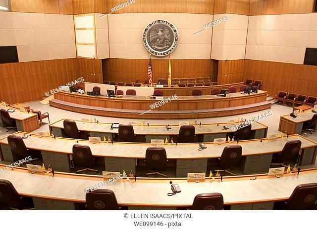 Senate chambers of the New Mexico state capitol building or statehouse in Santa Fe with State Seal