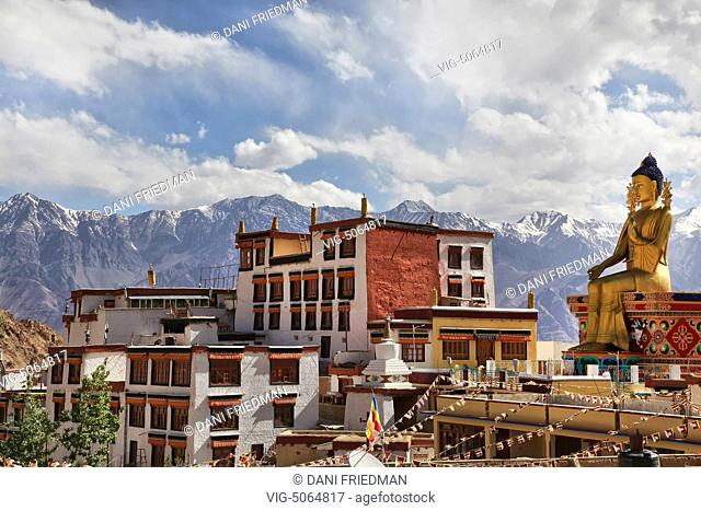 Likir Monastery (Likir Gompa) located in the foothills of the Himalayas in Likir, Ladakh, Jammu and Kashmir, India. The monastery was founded in the year 1065...