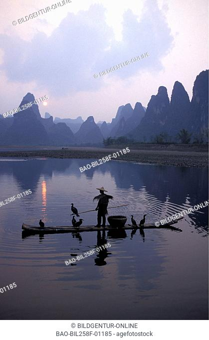 The scenery of Xingping with the Li River with Yangshuo to the landmark near the city of Guillin in the Povinz Guangxi in sueden from China