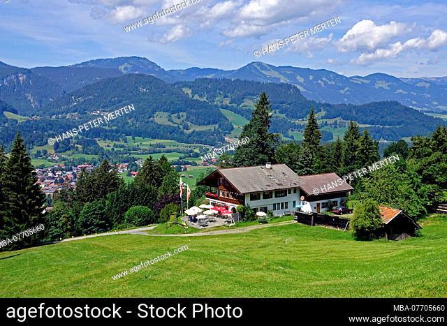 Cafe Breitenberg at Wallraffweg above Oberstdorf, Allgäu, Swabia, Bavaria, Germany