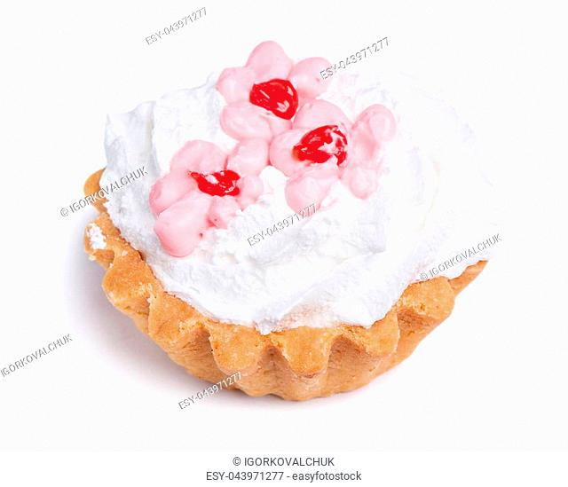 Cake with cream isolated on white background