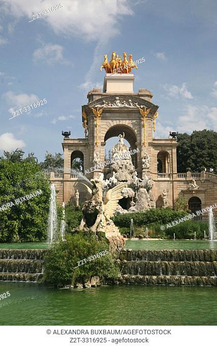 Cascada fountain at the Parc de la Citadella in te La Ribera district, Barcelona, Spain