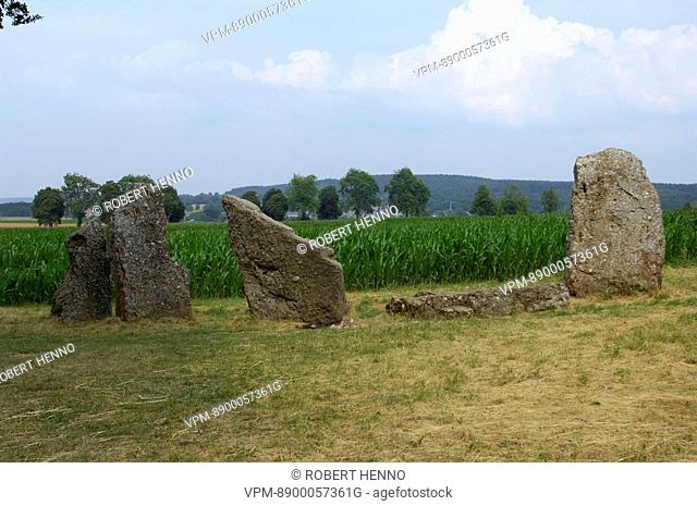 MENHIR - STANDING STONECLOSE TO SOUTHERN DOLMEN 3000-2800 B.C.MEGALITHIC SITEWERIS - DURBUY ARDENNE - BELGIUM