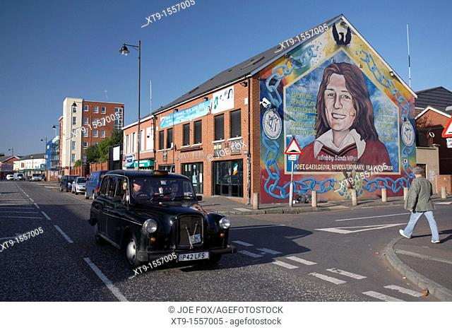 Sinn Fein office and Bobby Sands Mural, Falls Road, West Belfast, Northern Ireland, UK  The Falls Road is an arterial route through...