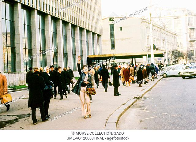 Scene outside the entrance of the Intourist Hotel, once located at 3 Tverskaya Street in Moscow, Soviet Russia, USSR, November, 1973