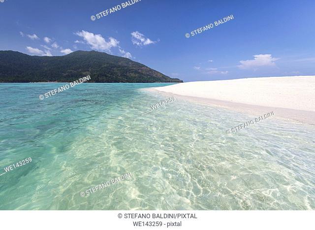 Turquoise water and white beach at Ko Lipe island, part of the Tarutao national marine park, Thailand