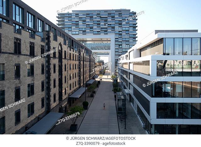 Office buildings and crane houses in Rheinauhafen, Cologne, Germany