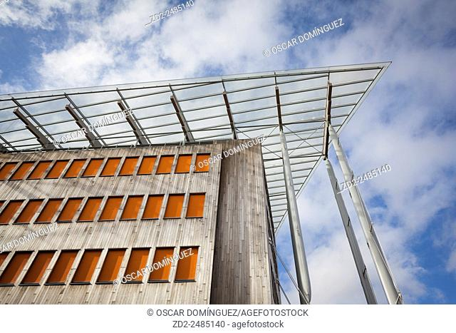 Low angle view of building and sky. Tjuvholmen district. Oslo. Norway