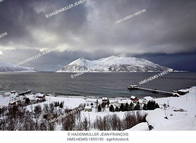 Norway, Troms, fishing village of Rekvik in Tromso country in winter