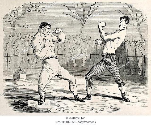 Antique humorous illustration of a boxing match beginning. Original, from drawing of Benassis and Darjou, published on L'Illustration, Journal Universel, Paris