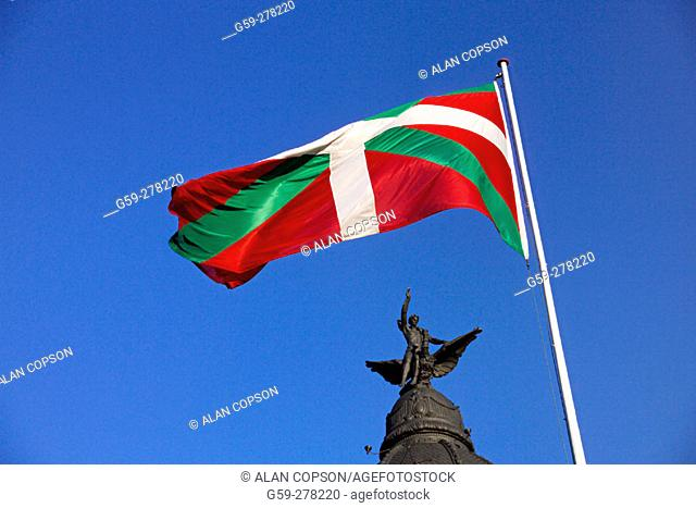 Basque flag. Old town. Bilbao. Biscay. Basque Country. Spain
